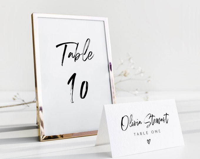 Table Number Card Template, Modern Hand Script Wedding Table Number, Minimalist, Editable, INSTANT DOWNLOAD, Templett, DIY 4x6 #090-196TC