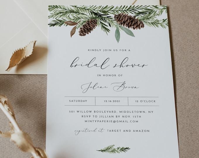Pine Bridal Shower Invitation Template, Printable Winter Wedding Shower Invite, Christmas, Editable, Instant Download, Templett #0017-294BS