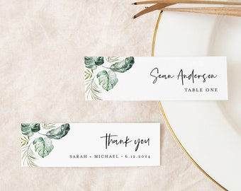 Tropical Place Card Template, 100% Editable, Printable Skinny Escort Card, Name Card, Favor Tag, Slim, Beach Wedding, Templett #087-199PC