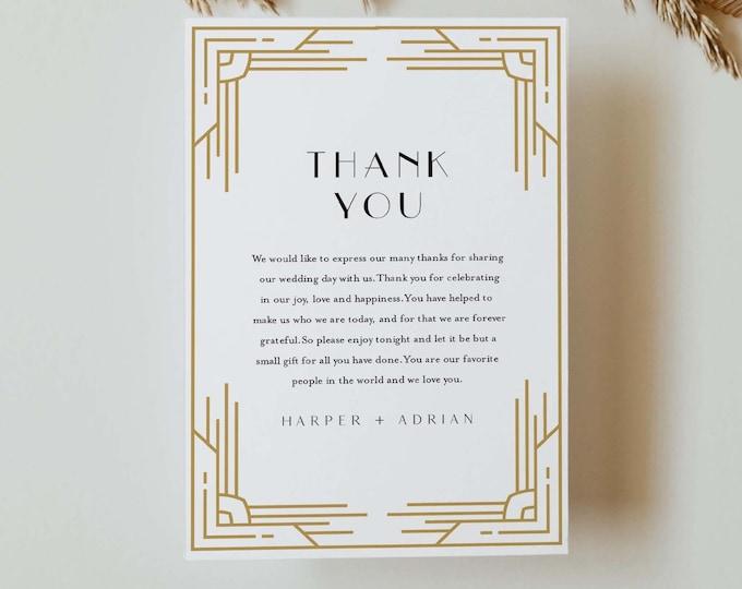 Art Deco Thank You Letter, Minimal Retro Napkin Note, Printable Menu Thank You, Editable Template, Instant Download, Templett #0021-164TYN