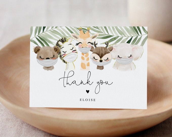 Mask Baby Animal Thank You Card, Social Distance Baby Shower, Editable Template, Flat & Folded Card, Instant Download, Templett 0008C-180TYC