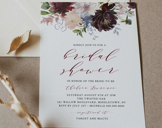 Bridal Shower Invitation Printable, Couples Shower Invite, 100% Editable Template, INSTANT DOWNLOAD, Boho Floral Burgundy & Gold #040-116BS