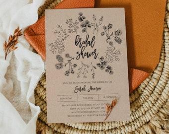 Rustic Bridal Shower Invitation Template, Wedding Shower Invite, Instant Download, DIY, Printable, Digital, Editable Template #018-105BS