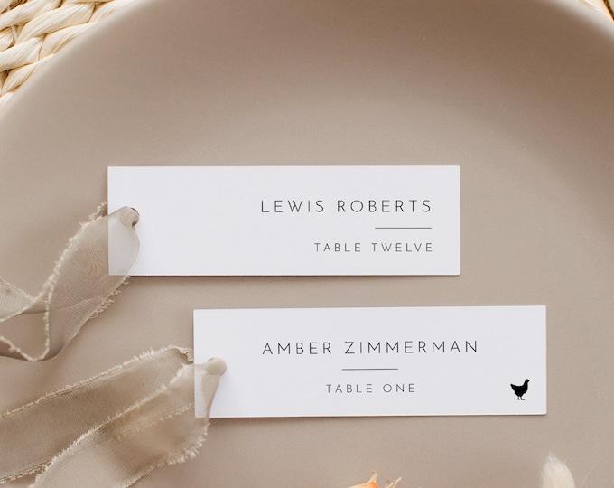 Minimalist Place Card Template, 100% Editable, Printable Skinny Escort Card, Narrow Name Card, Favor Tag, Slim, Templett #094-191PC