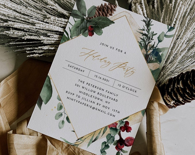 Holiday Party Invitation, Printable Pine and Holly Christmas Party Invite, Holiday Dinner, Editable, Instant Download, Templett #0018-101HP