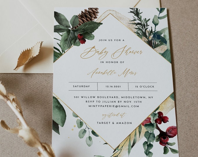Winter Baby Shower Invitation Template, Printable Pine Holly Baby Shower Invite, Christmas, Editable, Instant Download, Templett #0018-197BA