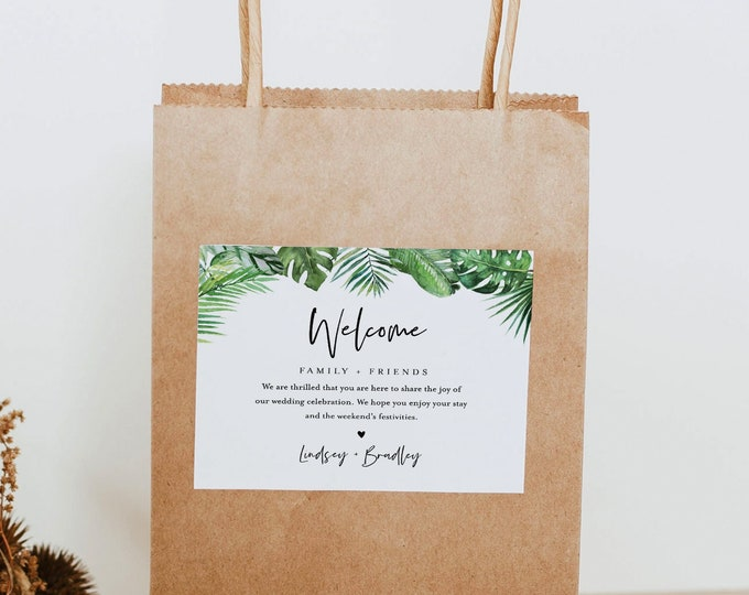 Tropical Welcome Bag Label Template, Beach Wedding, Welcome Box Sticker, Editable Hotel Bag, Instant Download, Templett, 2 sizes #083-116WBL