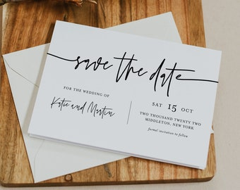 Minimalist Save the Date Template, 100% Editable Text, Modern, Simple Wedding Date Postcard, Instant Download, Templett #0009-180SD