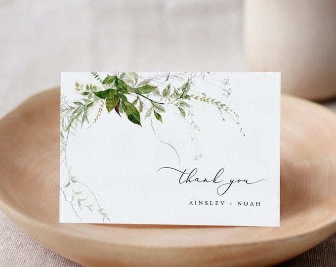 Modern Greenery Thank You Folded Card Printable, Minimalist Wedding / Bridal Shower Note, Editable Template, Templett #0011-187TYC