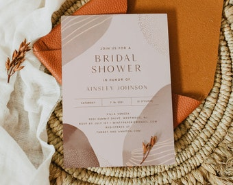 Modern Bridal Shower Invitation Template, Minimal Earthy Couples Shower Invite, Wedding Shower, 100% Editable, INSTANT DOWNLOAD #0016-293BS