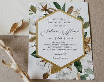 Bridal Shower Invitation Template, Magnolia and Cotton, Printable Couples Shower Invite, 100% Editable Text, INSTANT DOWNLOAD #015-218BS