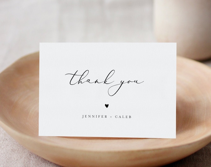 Minimalist Thank You Folded Card Printable, Modern Wedding / Bridal Shower Note, Editable Template, INSTANT DOWNLOAD, Templett #045-185TYC
