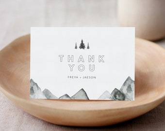 Mountain Thank You Card, Rustic Pine Wedding Thank You Note, Flat or Folded, Editable Template, Instant Download, Templett #0015-174TYC