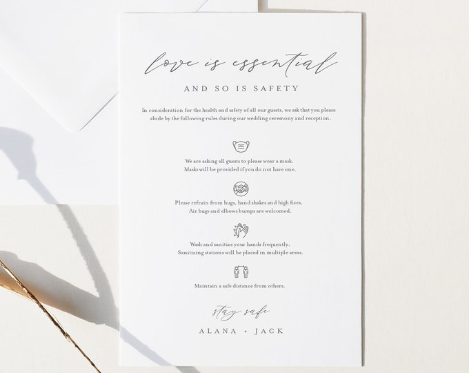 Covid Wedding Guidelines, Safety Card, Minimalist Wedding Enclosure Card, Welcome Bag Insert, Instant Download, Templett, 4x6 #0006-104CVW