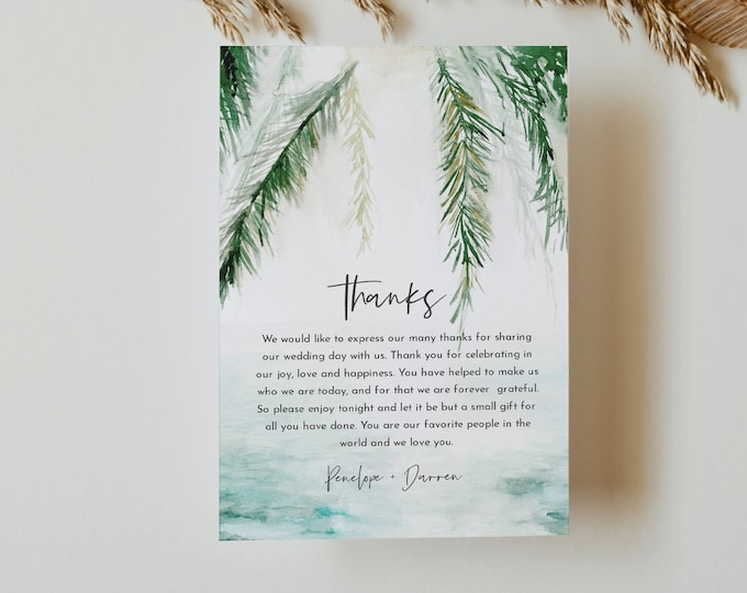 Beach Thank You Letter Template, Editable Tropical Wedding Thank You Note, Instant Download, Printable In Lieu of Favor Card #099-162TYN