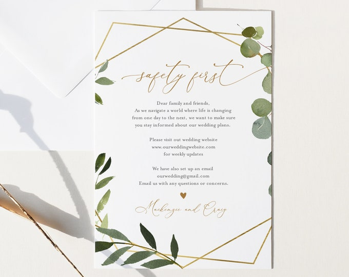 Covid Wedding Info Card, Safety Insert Card, Safety First, Greenery Wedding Enclosure Card, Instant Download, Templett, 4x6 #056-105CVW