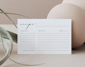 Minimalist Recipe Card Template, Instant Download, 100% Editable, Printable Modern Bridal Shower Recipe Insert, Templett, 4x6 #045-133RC