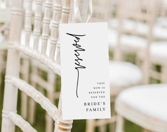 Modern Reserved Seating Tag, Wedding Reserved Row Card, Minimalist Reserve Chair, Editable Template, INSTANT DOWNLOAD, Templett #0009-103RS