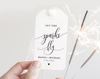 Sparkler Send Off Sign and Tag, INSTANT DOWNLOAD, Editable Template, Printable Wedding Sparkler Sign, Custom Sparkler Tag, Templett #008-06S