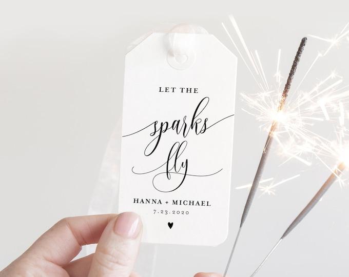 Sparkler Send Off Sign and Tag, INSTANT DOWNLOAD, Editable Template, Printable Wedding Sparkler Sign, Custom Sparkler Tag, Templett #008-06S