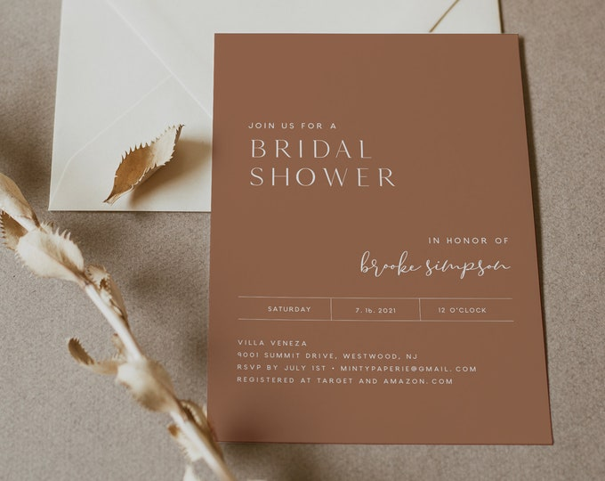 Minimal Bridal Shower Invitation Template, Terracotta Couples Shower Invite, Wedding Shower, 100% Editable, INSTANT DOWNLOAD #0020-292BS