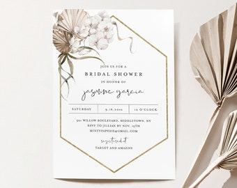 Pampas Bridal Shower Invitation Template, Bohemian Dried Palm Foliage Wedding Shower Invite, 100% Editable Text, Templett #0022-297BS