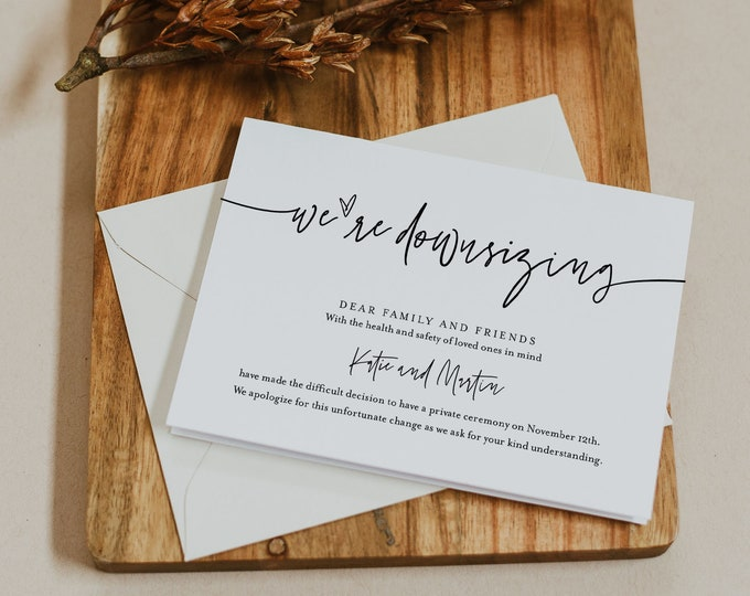 We're Downsizing Announcement, Minimalist Change of Plans Postcard, Intimate Wedding, Editable Template, Instant Download #0009-127PA