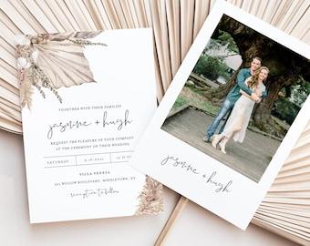 Dried Foliage Wedding Invitation Set, Bohemian Pampas, Palm Invite, RSVP, Detail, Editable Template, Instant Download, Templett #0022C