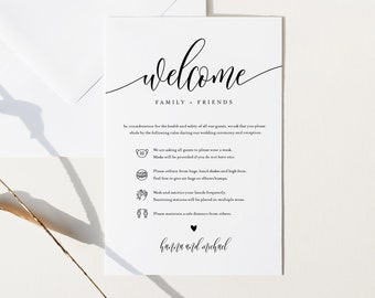 Safety Card, Covid Wedding Guidelines, Minimalist Wedding Enclosure Card, Welcome Bag Insert, Instant Download, Templett, 4x6 #008-116CVW
