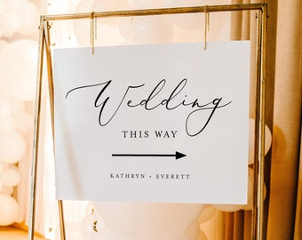 Minimalist Welcome Sign Template, Wedding This Way, Arrow Wedding Poster, Instant Download, 100% Editable, Templett #045-254LS