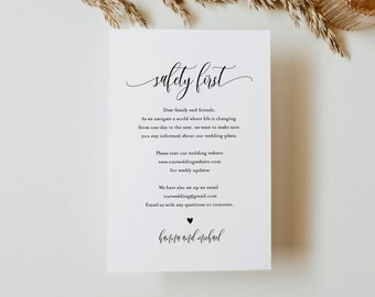 Safety Info Card, Covid Wedding Guidelines, Minimalist Wedding Insert Card, Social Distance, Instant Download, Templett, 4x6 #008-101CVW