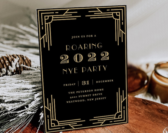 New Years Eve Party Invitation, Roaring 2022, Art Deco, NYE Party Invite, Editable Template, Instant Download, Templett #0021-101NYE