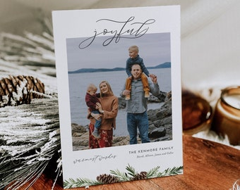 Photo Holiday Card Template, 100% Editable Text, Add Your Own Photo, DIY Family Christmas Card, Instant Download, Templett, 5x7 #0017-104HP