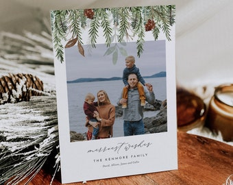 Photo Holiday Card Template, 100% Editable Text, Add Your Own Photo, DIY Family Christmas Card, Instant Download, Templett, 5x7 #0017-103HP