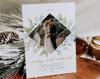 Newlywed Photo Holiday Card Template, Merry and Married, 100% Editable Text, Add Your Own Photo, Instant Download, Templett, 5x7 #NC-109HP