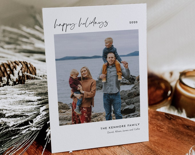 Minimalist Photo Holiday Card Template, Simple Christmas Card, 100% Editable, Add Your Own Photo, Instant Download, Templett, 5x7 #110HP