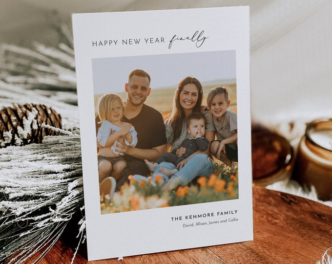 2021 Happy New Year Card Template, Holiday Card, Minimalist Photo Christmas Card, 100% Editable, Instant Download, Templett, 5x7 #117HP