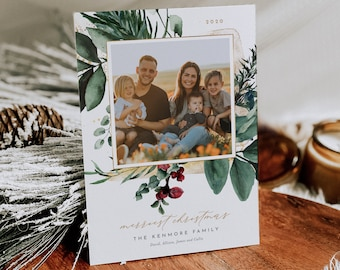 Photo Christmas Card Template, 100% Editable Text, Add Your Own Photo, DIY Family Holiday Card, Instant Download, Templett, 5x7 #0018-105HP