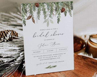 Winter Bridal Shower Invitation Template, Printable Pine Wedding Shower Invite, Holiday, Editable, Instant Download, Templett #0017-290BS
