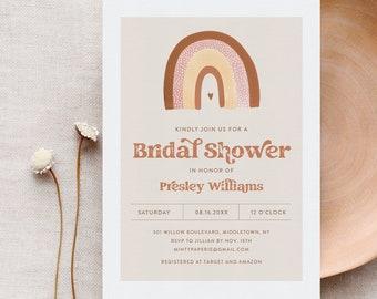 Boho Rainbow Bridal Shower Invitation, Bohemian, Terracotta, Earth Tones, Retro, Editable Template, Instant Download, Templett #025A-298BS