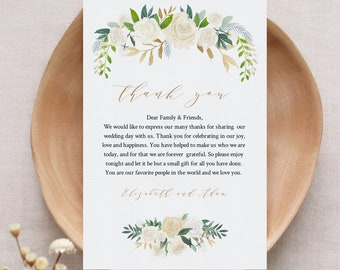 Printable Wedding Thank You Letter, Napkin Note, In Lieu of Favor Card Template, Floral Wedding Reception Card, INSTANT DOWNLOAD #021-107TYN
