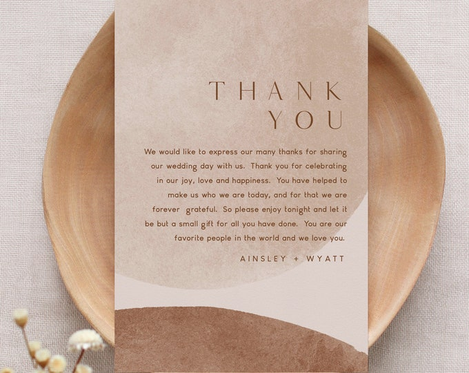 Earthy Abstract Thank You Letter, Napkin Note, Printable In Lieu of Favors Card, Editable Template, Instant Download, Templett #0016-159TYN