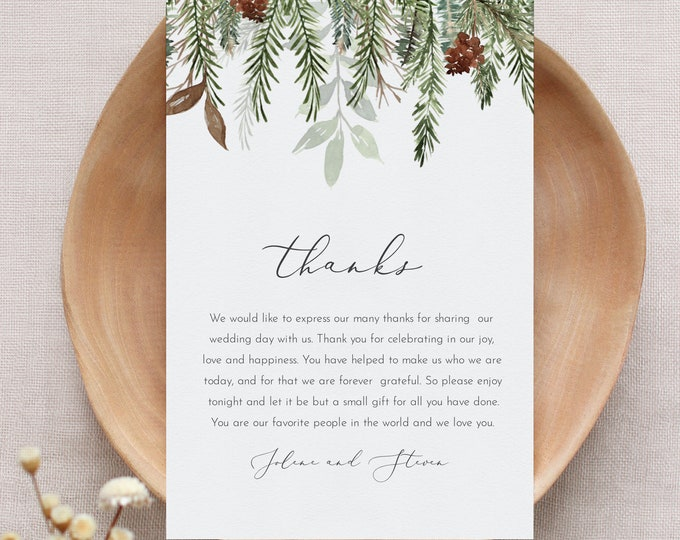 Holiday Thank You Letter, Winter Pine Wedding, Printable In Lieu of Favors Card, Editable Template, Instant Download, Templett #0017-160TYN