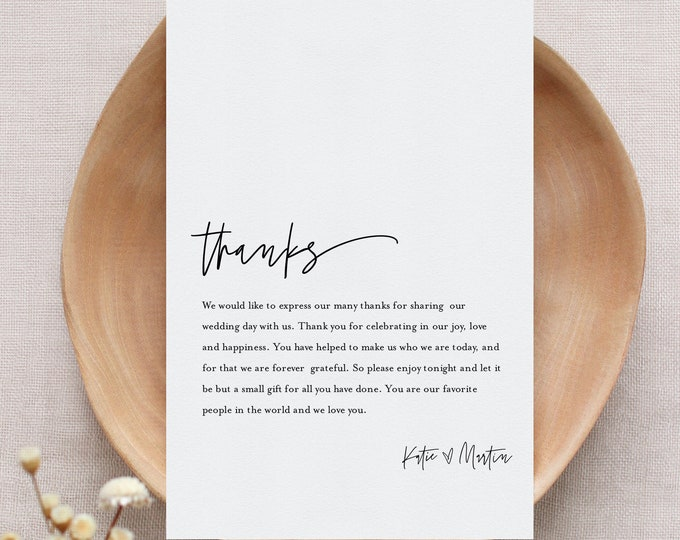 Minimalist Thank You Letter, Modern Napkin Note, Printable Menu Thank You, Editable Template, Instant Download, Templett 4x6 #0009-163TYN