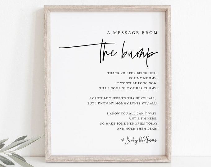 Message from the Bump Sign, Minimalist Baby Shower Template, Editable Message from Baby, Printable, Instant Download, Templett  #0009-17S