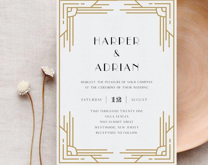 Art Deco Wedding Invitation, Printable Retro Black and Gold Wedding Invite, Minimal, Editable Template, Instant Download, Templett #0021B