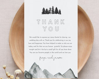 Mountain Pine Thank You Letter, Napkin Note, Printable In Lieu of Favors Card, Editable Template, Instant Download, Templett #0015-158TYN