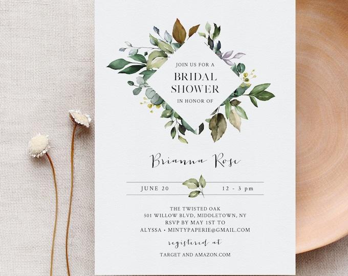 Greenery Bridal Shower Invitation Template, Bohemian Wedding Shower, Editable Text, Couples Shower, Instant Download, Templett #005-223BS