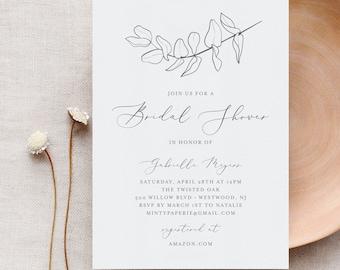 Bridal Shower Invitation, Couple Shower Invite Template, INSTANT DOWNLOAD, 100% Editable, Hand Drawn Eucalyptus, Rustic, Kraft #051-144BS