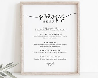S'mores Menu, Printable Smores Bar Sign, Minimalist Wedding S'mores Station, 100% Editable Template, Instant Download, Templett  #0009-31S